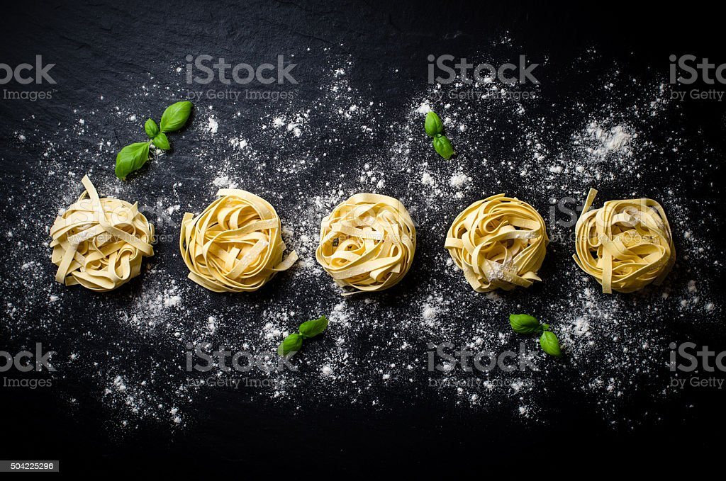 Pasta on dark background stock photo