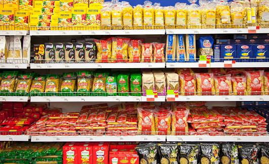 Kaliningrad, Russia - January 31, 2021: Pasta on supermarket shelves.