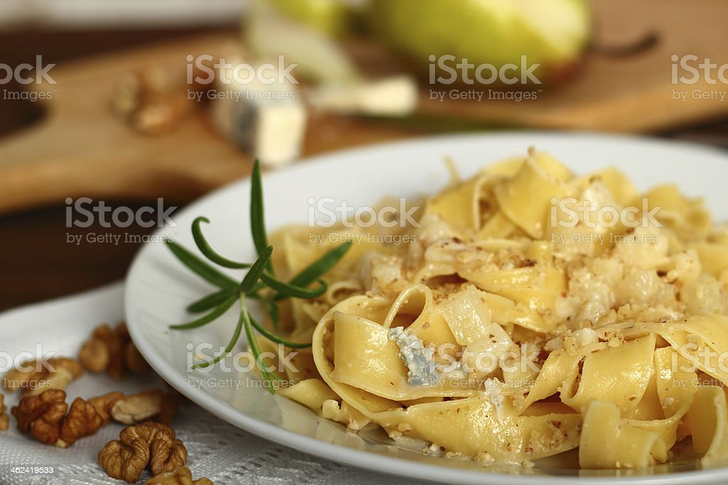 Pasta (Fettuccine) Pappardelle al Gorgonzola royalty-free stock photo