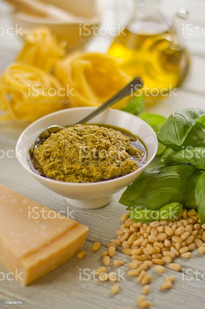Pasta pesto royalty-free stock photo