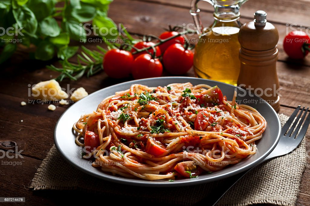 Pasta plate stock photo
