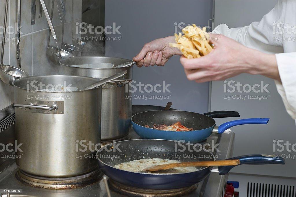 pasta preparation royalty-free stock photo