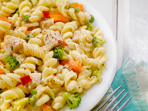 Pasta Primavera with Chicken Pasta Primavera with Chicken and Vegetables-Photographed on Hasselblad H3D2-39mb Camera primavera stock pictures, royalty-free photos & images