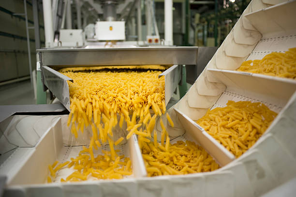 Pasta production line stock photo