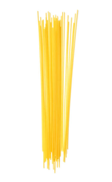 Pasta, ready for cooking. Isolated on white background. Top view. Flat lay stock photo