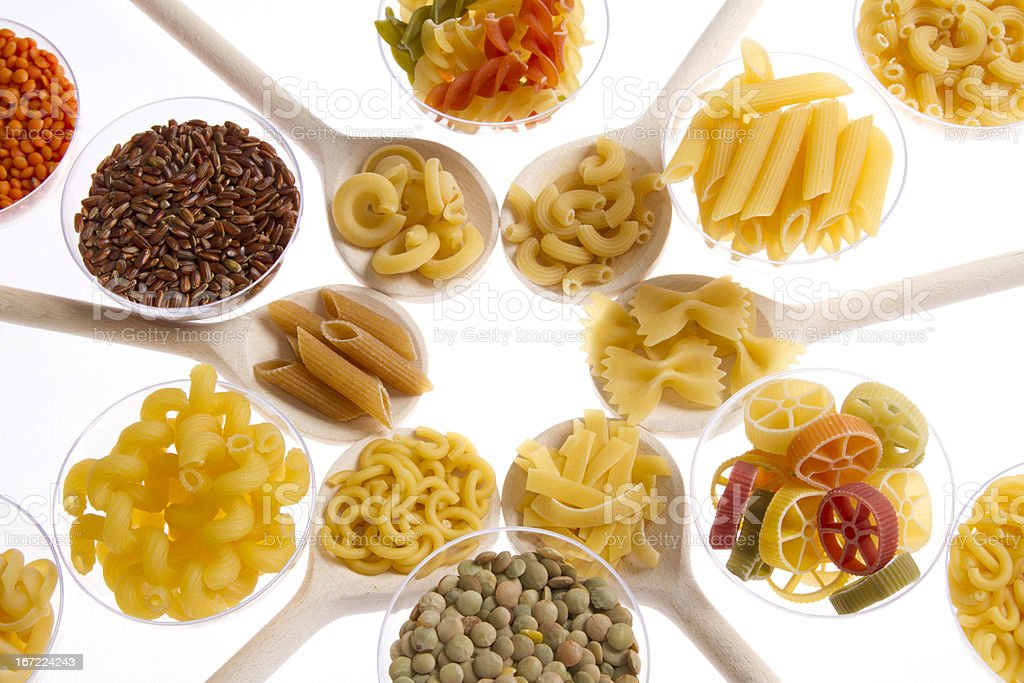 pasta, rice and legumes royalty-free stock photo