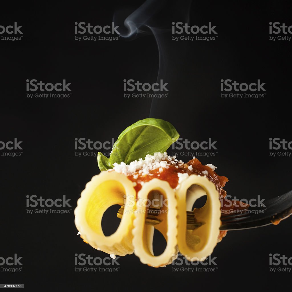 Pasta Rigatoni on fork royalty-free stock photo