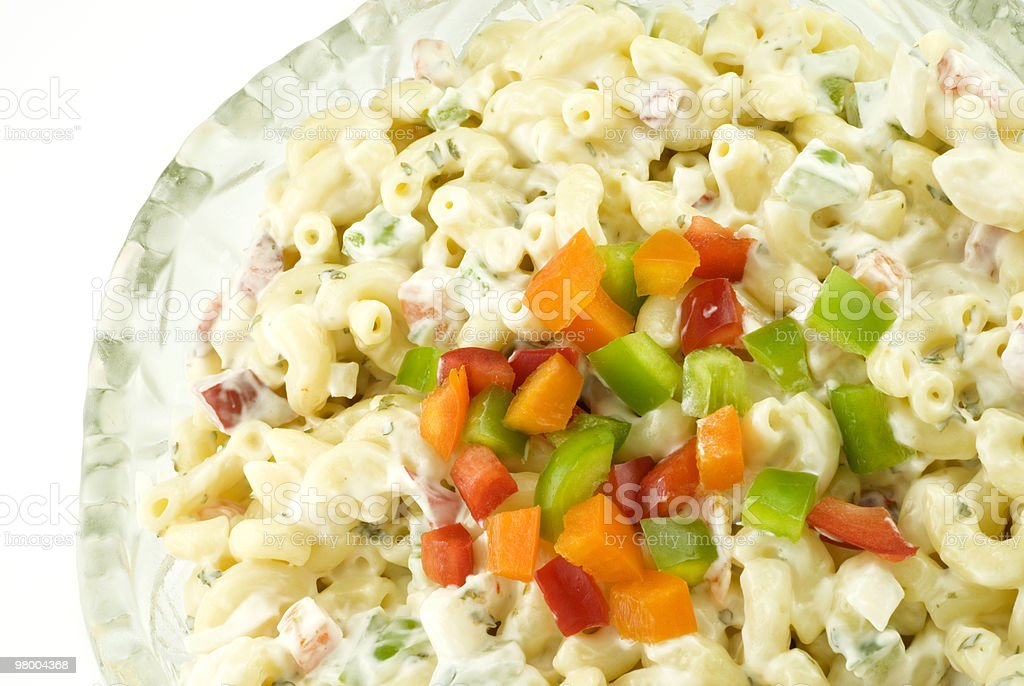 Pasta Salad with Colorful Peppers stock photo
