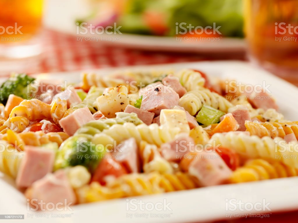 Pasta Salad with Ham and Fresh Vegetables stock photo