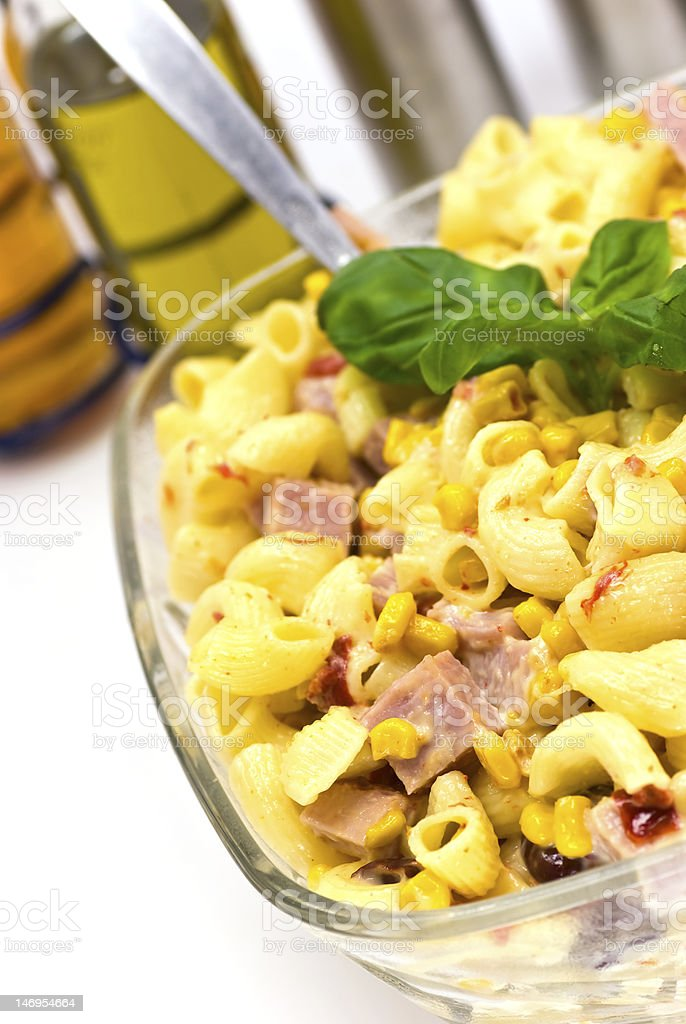 pasta salad with ham royalty-free stock photo