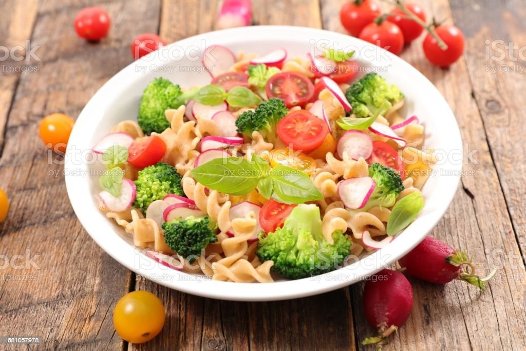 pasta salad with tomato and broccoli royalty-free stock photo