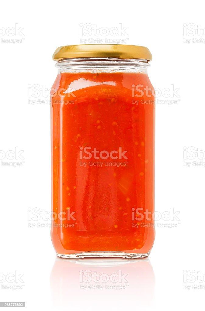 Pasta sauce bottle isolated on white background stock photo