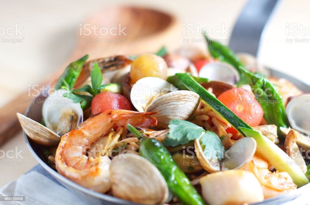 pasta, seafood pasta royalty-free stock photo