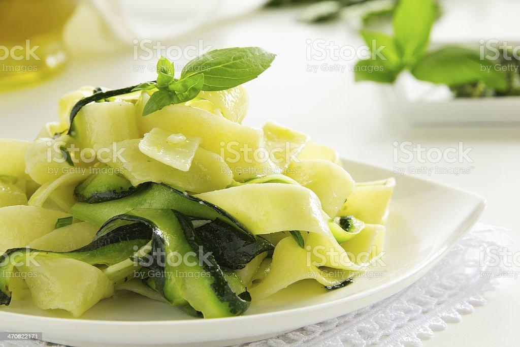 Pasta tagliatelle with zucchini. stock photo