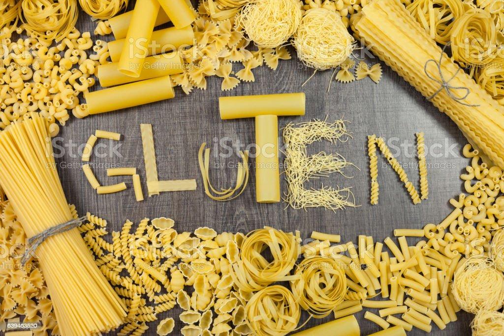 Pasta that contains gluten stock photo