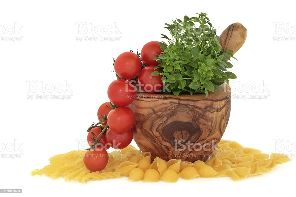 Pasta, Tomatoes and Basil Herb royalty-free stock photo