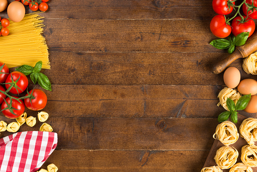 Pasta Vegetables And Eggs On Table Stock Photo - Download Image Now