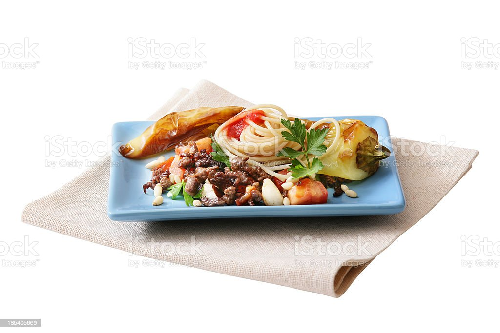 Pasta, vegetables and mussels royalty-free stock photo