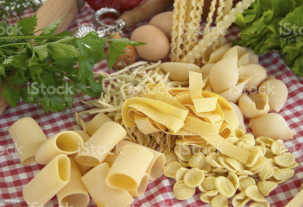 Pasta, vegetables, egg, basic ingredients of Italian and Mediter stock photo