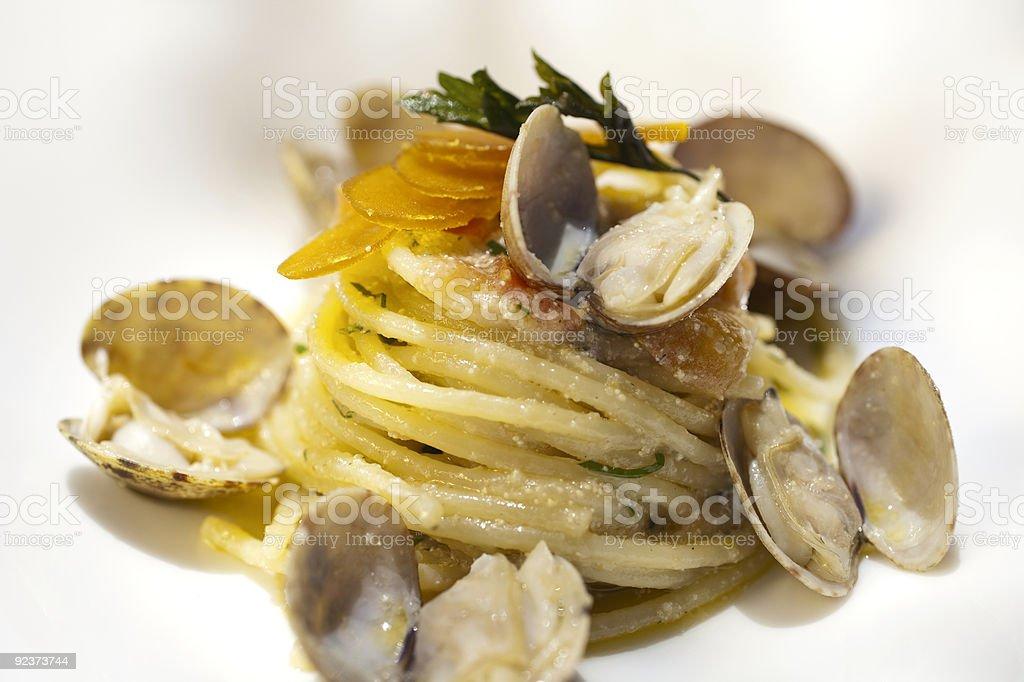 pasta vongole and bottarga royalty-free stock photo