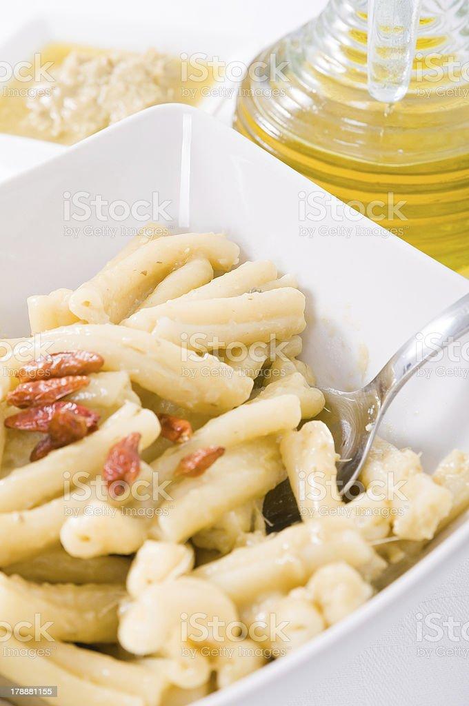 Pasta with artichoke pesto. royalty-free stock photo