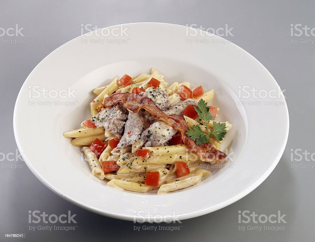 pasta with bacon royalty-free stock photo