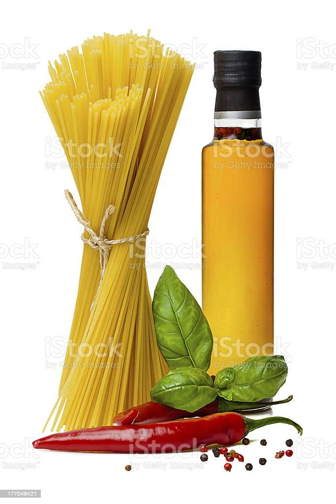 pasta with basil royalty-free stock photo