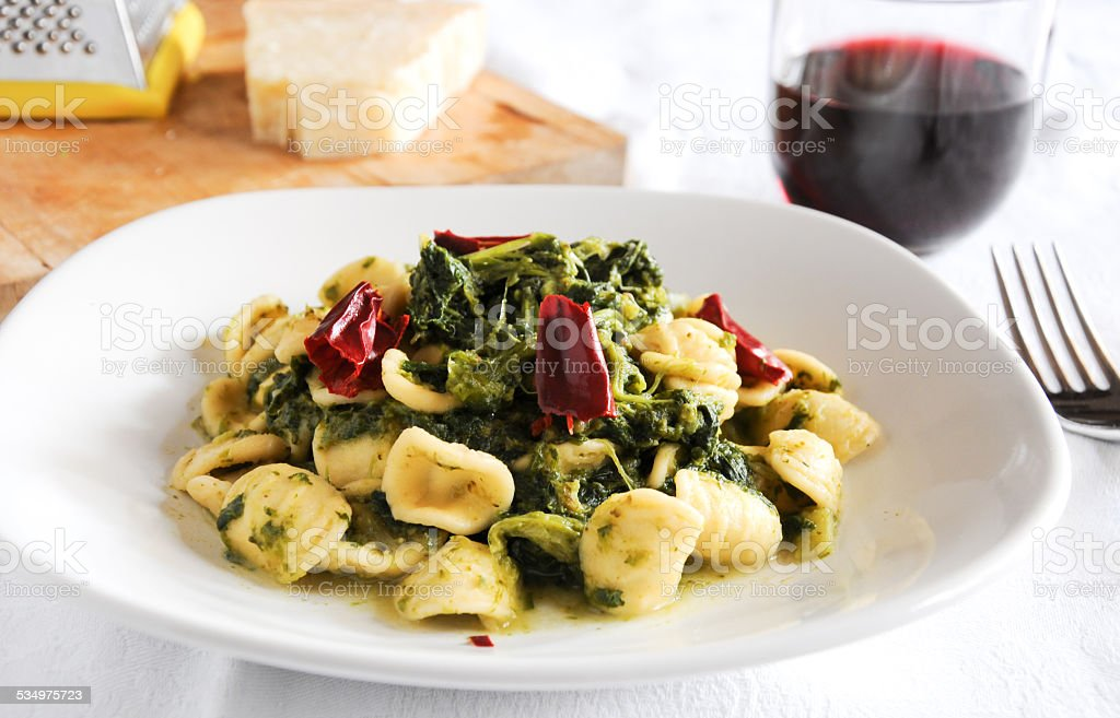 Pasta with broccoli and cheese stock photo