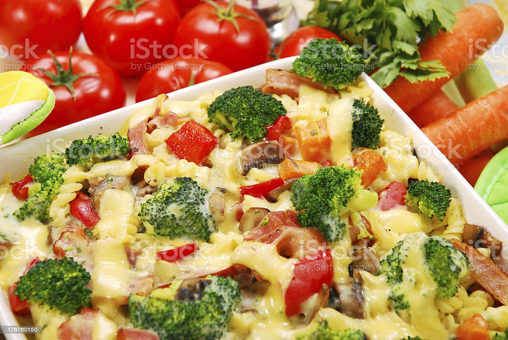 pasta with broccoli and mushrooms royalty-free stock photo