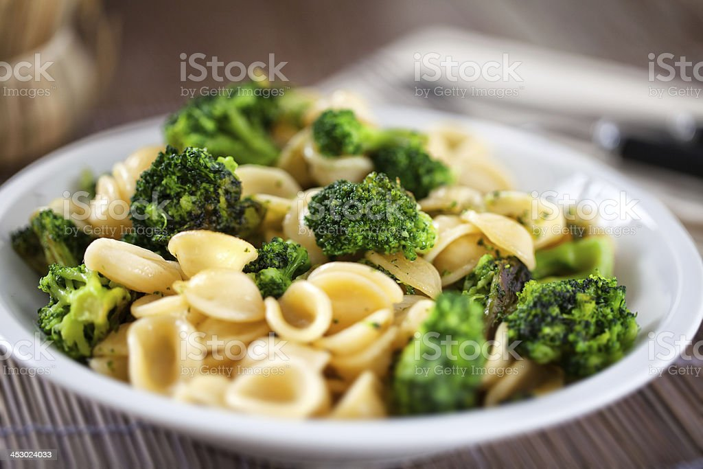 Pasta with broccoli stock photo