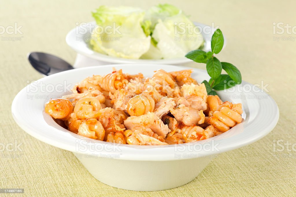 Pasta with chicken meat royalty-free stock photo