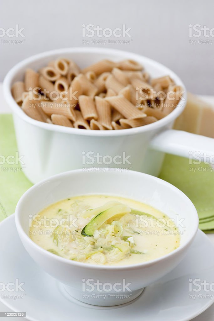 Pasta with Courgette Sauce royalty-free stock photo