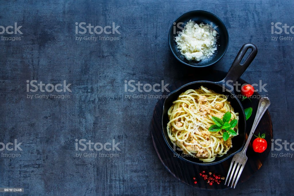 Pasta with crab sauce stock photo