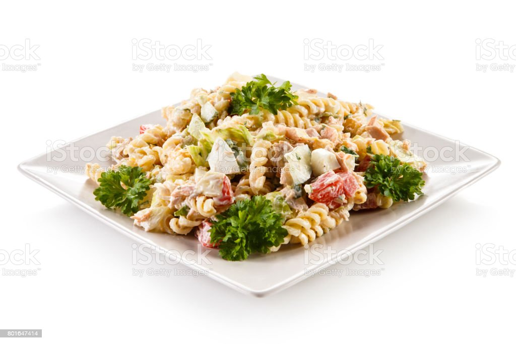 Pasta with cream sauce and vegetables stock photo