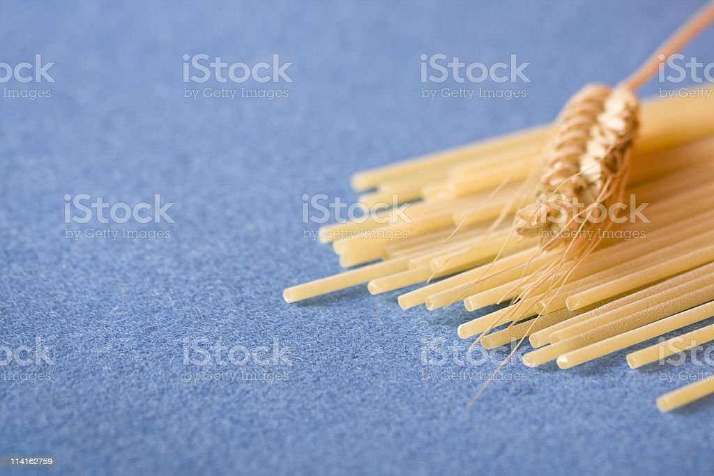 Pasta with ear of wheat royalty-free stock photo