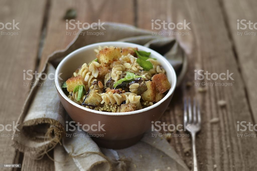 pasta with egg plant royalty-free stock photo