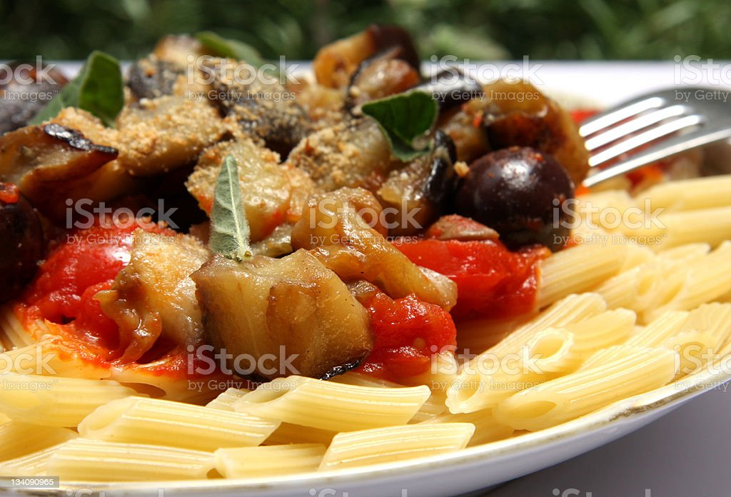 Pasta with eggplant  'a la Norma' royalty-free stock photo