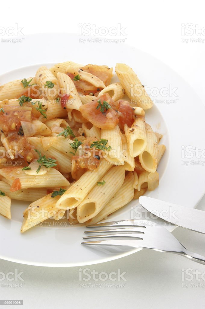 pasta with fresh organic tomato and spices royalty-free stock photo