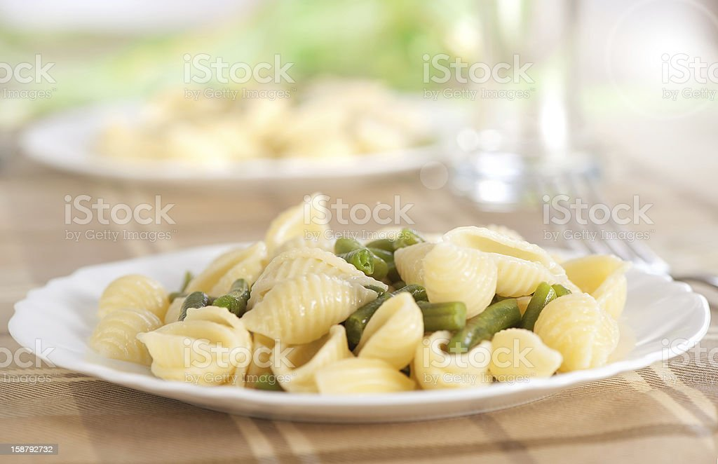 pasta with green beans royalty-free stock photo