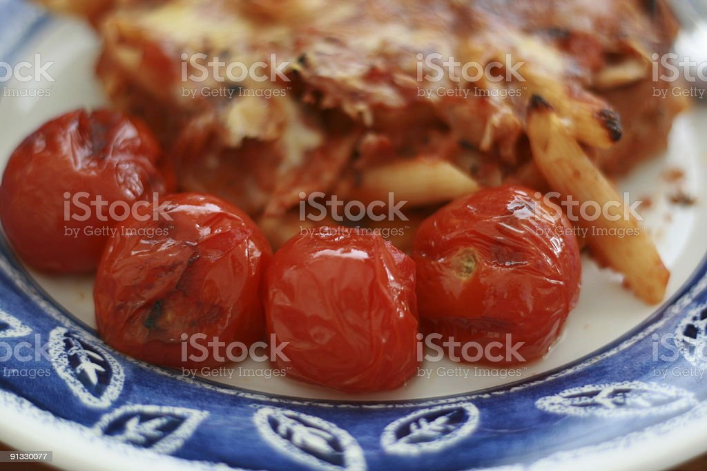 Pasta with grilled Tomatoes royalty-free stock photo