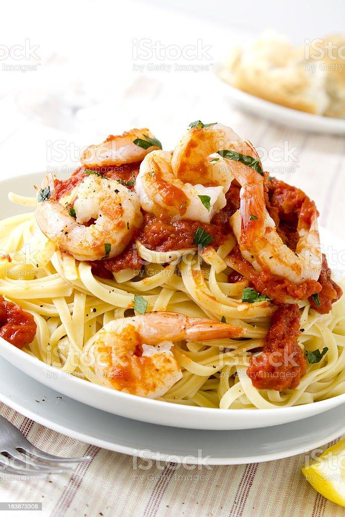 Pasta with king prawns. stock photo