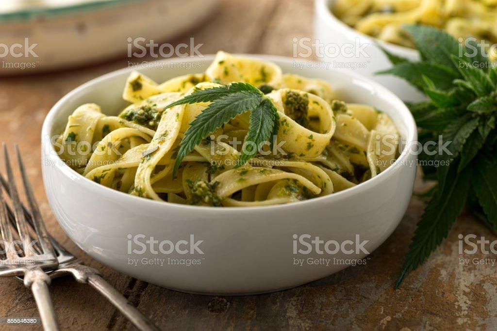 Pasta with Marijuana Pesto stock photo