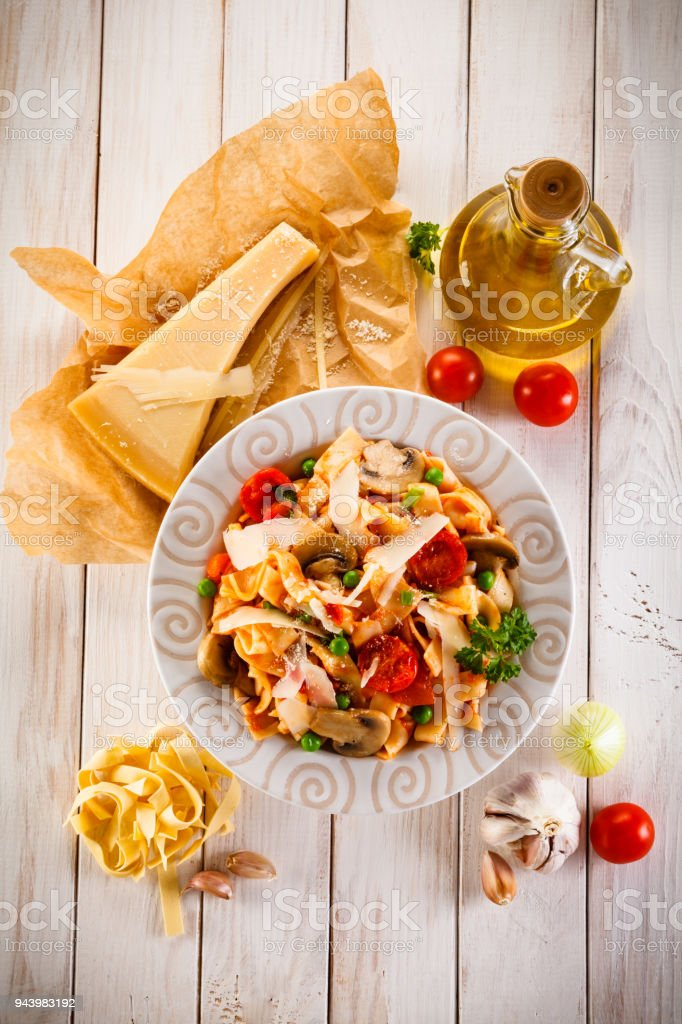 Pasta with meat and vegetables stock photo