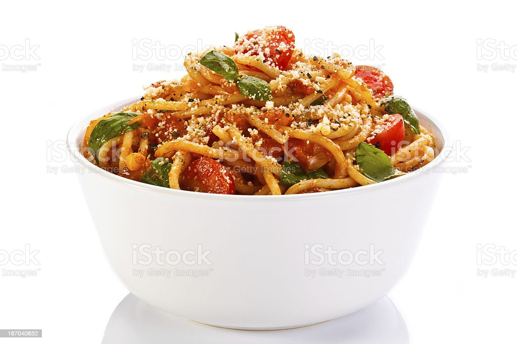 Pasta with meat, tomato sauce, and Parmesan stock photo