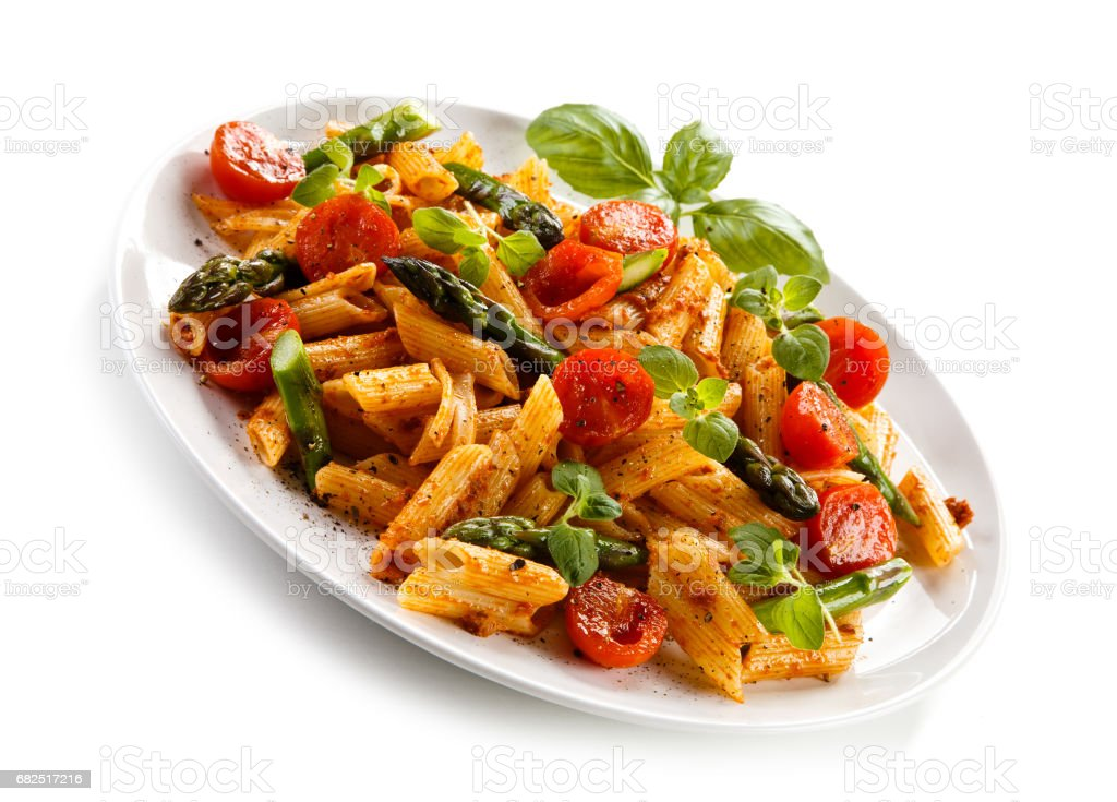 Pasta with meat, tomato sauce and vegetables royalty-free stock photo