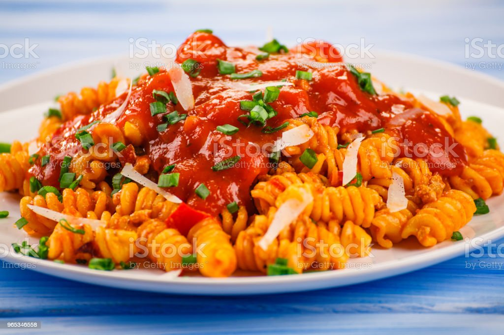 Pasta with meat tomato sauce and vegetables royalty-free stock photo