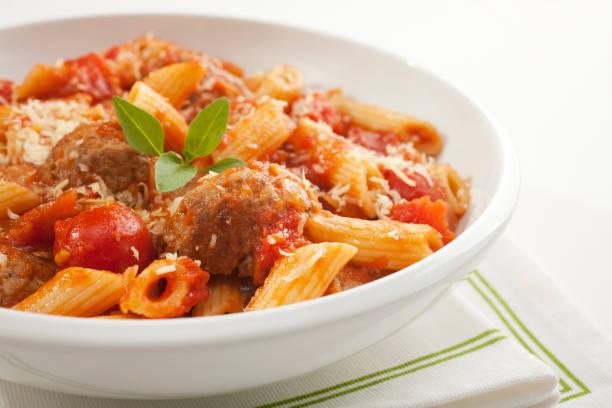 Pasta with Meatballs and Marinara stock photo