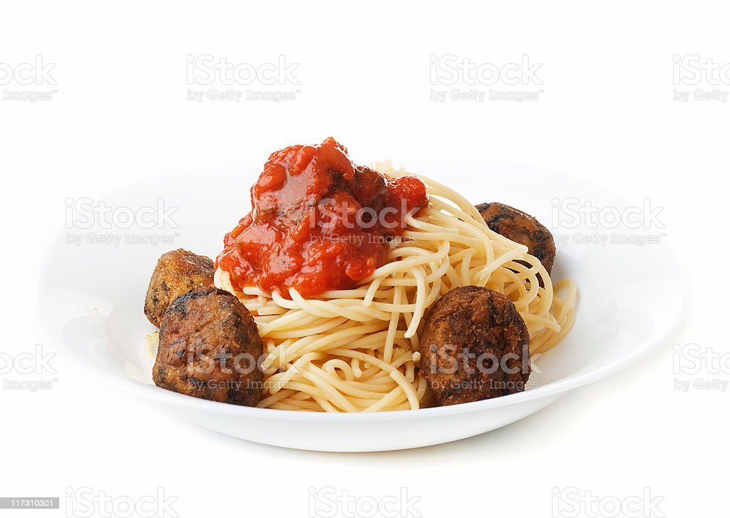 Pasta with meatballs royalty-free stock photo