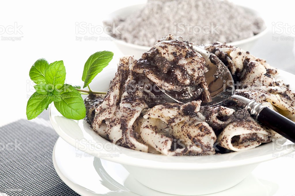 Pasta with minced poppy seed royalty-free stock photo