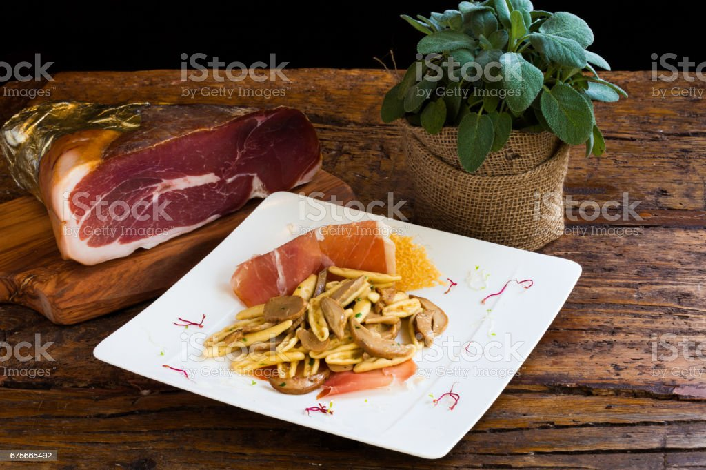 Pasta with Mushroom and Speck royalty-free stock photo